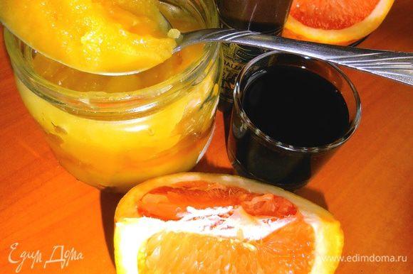 В это время готовим соус.Нужны продукты такие:из цитрусов у меня был грейпфрут совсем без горечи,поэтому подошёл идеально!