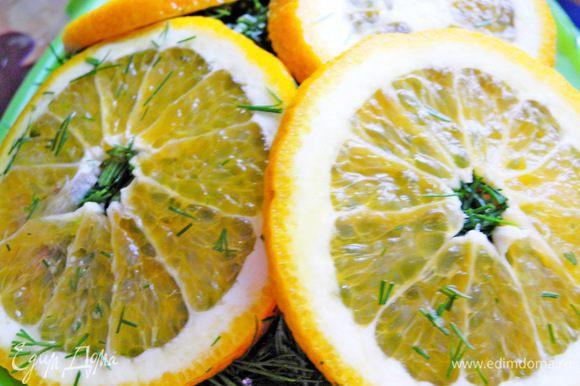 Затем сверху посыпать мелко нарезанным укропом или зеленью фенхеля. Апельсины нарезать на кружочки и разложить сверху, плотно прижимая. Затем сверху закрыть пленкой и положить в холодильник на 2-3 суток.