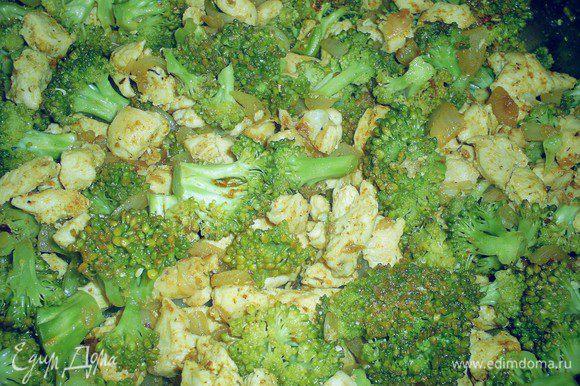 Луковицу мелко режем и добавляем на сковороду к курице, обжариваем до прозрачности. Затем добавляем помытую. разобранную на соцветия, брокколи. Минут 5 томим под закрытой крышкой, солим, перчим по вкусу и оставляем остывать.