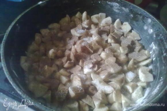 На дно формы выложить порезанные дольками яблоки, посыпать сахаром (мне хватило 1 ст. л., т.к. яблоки были сладкие) и корицей ( у меня корицы не оказалось, и я поэкспериментировала с какао).