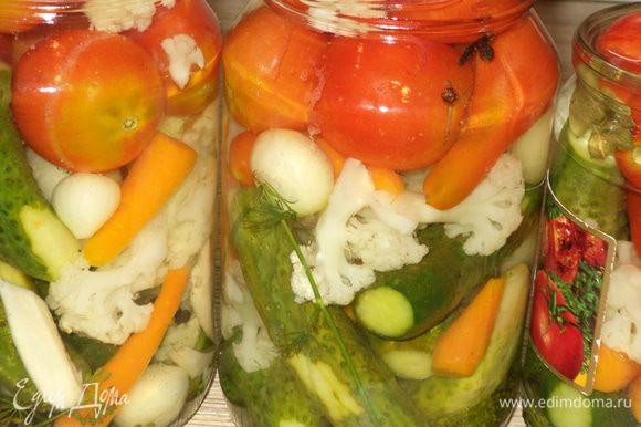 Приготовим будущий маринад,первым делом отмерим воду и вскипятим ее(примерно на 3 литровых баночки нужно 1 литр воды)Пока вода закипает,укладываем наши овощи на дно специи,чтобы меньше выливались при сливании воды.Это-перцы черный и душистый,гвоздичка,семя горчицы,зонтик укропа,бадьян,лавровый лист,Затем укладываем наши овощи как нравиться,слоями понемногу и заливаем кипящей водой.Считаем сколько ушло воды.