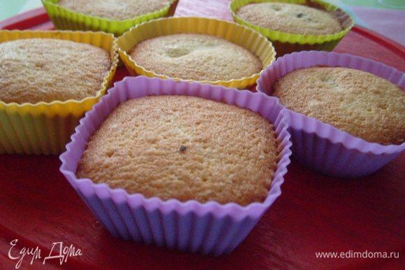 Выпекать при 190 градусах 25 мин. Готовое пирожное на несколько минут оставить в формочке, затем достать из формы. При желании можно полить глазурью (но получается и так вкусно и сладко).