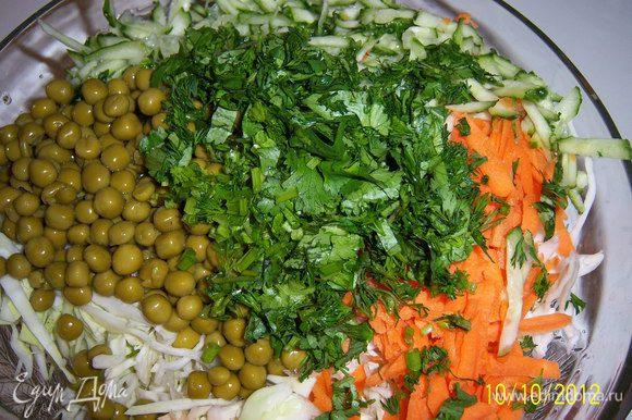 1.капусту нарезать тонкой соломкой 2.морковь почистить и натереть на тёрке 3. огурцы натереть на тёрке 4.кинзу и укроп мелко порубить 5.добавить горох 6.добавить специи и заправить маслом