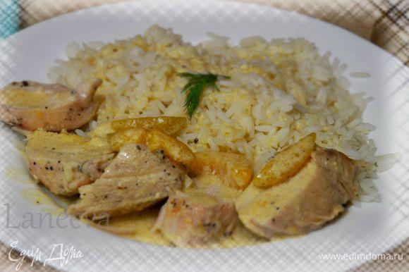 Готовое филе разрезать на небольшие кусочки,подавать с отварным рисом полив соусом и кусочками абрикос.