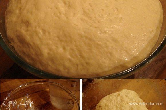 Дрожжи, смешанные с сахаром и 1 ч.л. муки, растворить в тёплой воде и убрать в тёплое место (я прогреваю микроволновку паром, а потом ставлю туда тесто на расстойку). Просеять муку с солью в большую миску, добавить пенящиеся дрожжи и замесить мягкое тесто. В миску добавить масло и вымесить тесто ещё раз. Затянуть миску пищевой плёнкой и убрать в теплое на час. Через 30 минут обмять тесто.