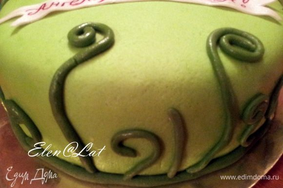 и закрутить в разного размера улиточек, приклеить с помощью капелек воды на торт.