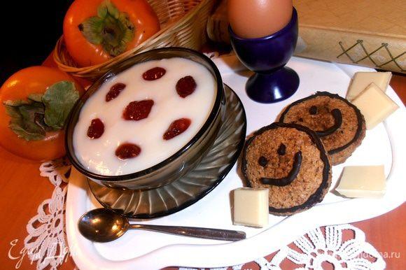 Можно предложить такое полезное печенье к домашнему молочному кисельку(http://www.edimdoma.ru/retsepty/48669-kisel-molochnyy-nazad-v-sssr)