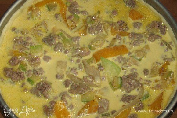 На тесто выложить начинку. Залить приготовленной яично-молочной смесью начинку пирога. Выпекать в разогретой до 200°С духовке 50 -60 минут.