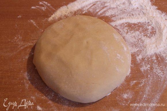 Выложить тесто на присыпанную мукой поверхность и сформировать шар. Оставить на 1 час, накрыв полотенцем.