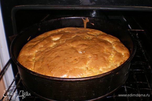 """Выпекать минут 30, я обычно проверяю готовность пирога по корочке - если она поджаристая - значит пирог готов. Но не спешите его вытаскивать, выключите духовку и пусть минут 30 """"отдохнет"""". Не переживайте , если он """"опадет"""". Когда полностью остынет - можно подавать на стол. Приятного аппетита!!!"""