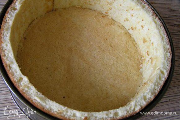 Идеальный бисквит обрезать до нужного диаметра, вставить внутрь формы (должно быть плотное соединение с бисквитом-декором).