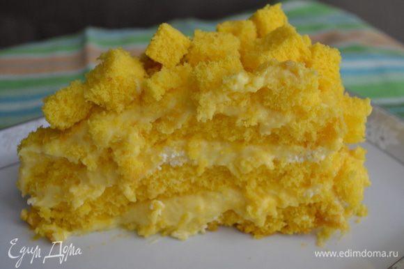 Поставить тортик в холодильник настояться на ночь. А затем, зовем в гости подружек, нарезаем наш торт и наслаждаемся!!!!