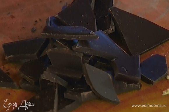 Шоколад поломать на небольшие кусочки и добавить в тесто.