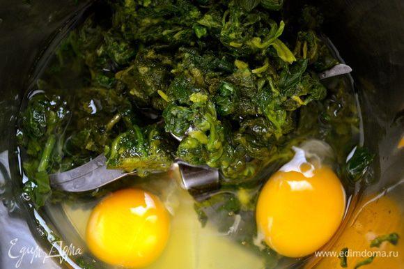В чашу миксера положить шпинат, яйца, воду, соль и мускатный орех. Взбить все в однородную гладкую массу.