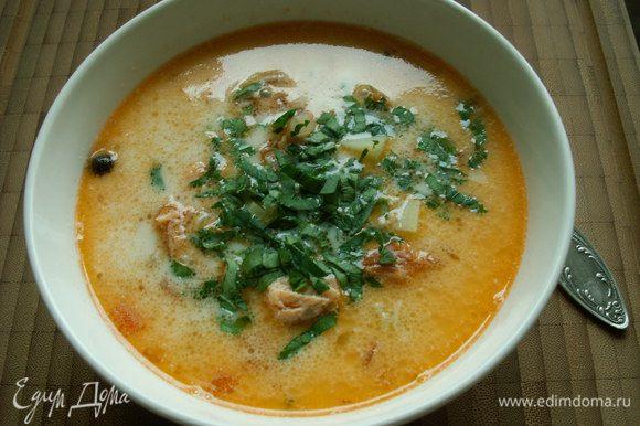 При подаче посыпаем суп мелко нарубленной петрушкой или укропом. BON APPETI!