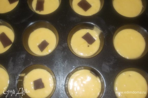 формочки смазать маслом и выложить тесто на 1/4, в каждую формочку положить маленький кусочек шоколада,закрыть небольшой порцией теста