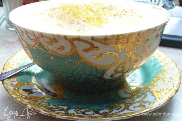 Непосредственно перед подачей (в большой пиале) чай можно слегка посыпать шафраном и корицей. Замечательный чай! Очень располагает к беседе!