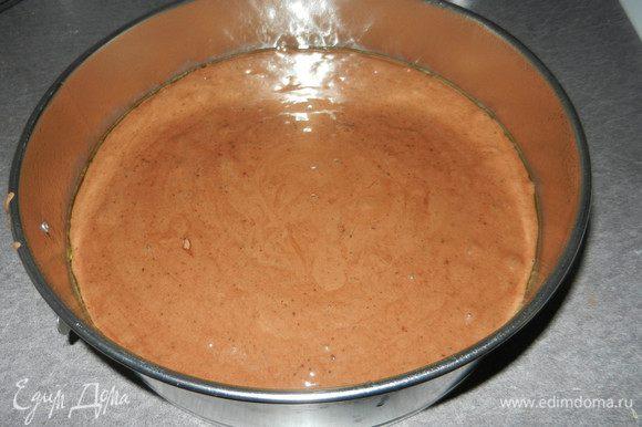 Полученную смесь делим на две части, если формы небольшие (20 см). 2 формы смазываем маслом и посыпаем мукой. На дно можно выложить пергамент. (Я использовала масло-аэрозоль для выпечки). Немного потрусить формы или бросить пару раз, не мешать , чтобы не нарушить пузырьки воздуха. Поместить в разогретую до 180 градусов духовку и выпекать до готовности. Первые 20 минут не открывать духовку.