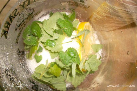 Лимон переложить в графин, засыпать сахаром, добавить мяту (самая лучшая - свежесорванная, выращенная на подоконнике в горшочке, будет радовать вас все теплое время года). Потолочь деревянным пестиком...