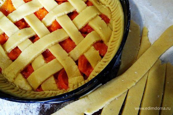 Оставшиеся полосочки пустить поверх бортиков, и придавить немного вилкой. Выпекать пирог при 180*С около 30 минут.