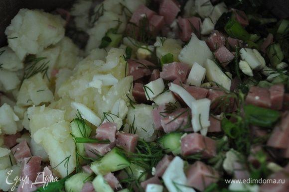 Свеклу вымыть и отварить до готовности, остудить, очистить. Отдельно отварить картофель до готовности, яйца сварить в крутую. Картофель и яйца остудить, очистить. Огурцы и зелень вымыть, зелень стряхнуть от воды и мелко порубить, огурцы вытереть на сухо, нарезать маленькими кубиками. Остывшие яйца и картофель,а также ветчину нарезать мелкими кубиками.
