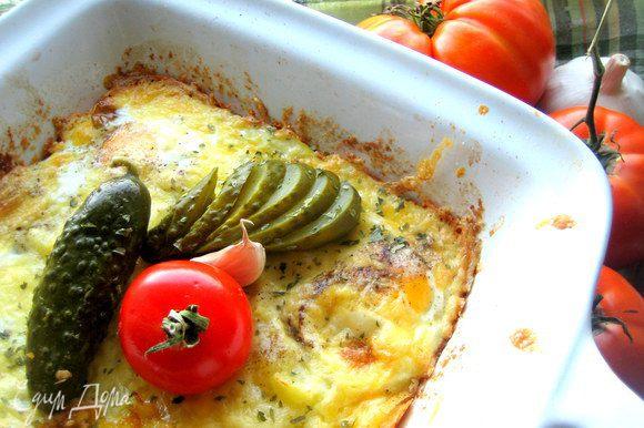 Украшаем маринованным огурчиком, помидорчиком и сразу подаём семье на ужин)))