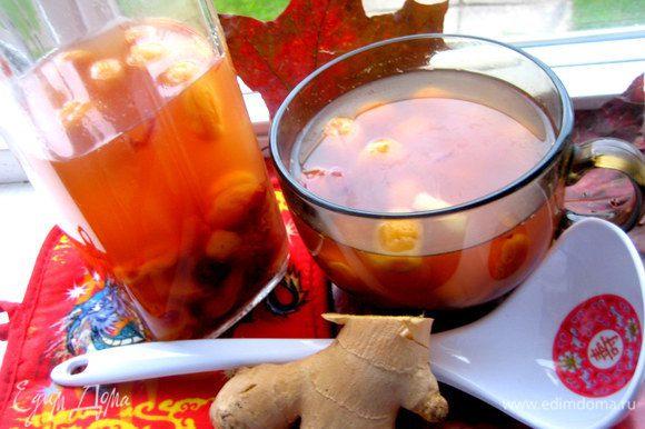 В тёплом виде можно пить как фруктовый чай, а в холодном это компот с лёгкой освежающей ноткой имбиря)))