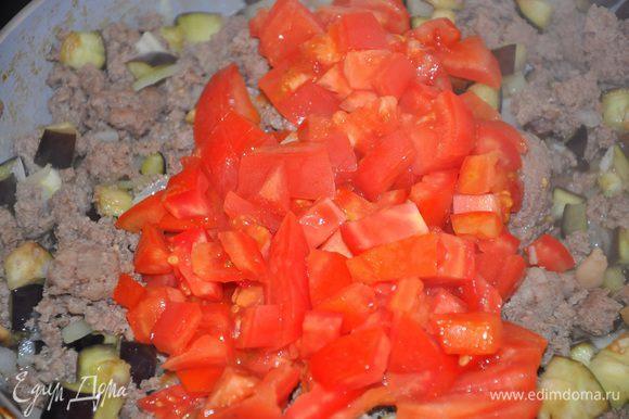 Добавьте к мясу томатную пасту, помидоры, душицу, корицу, посолите и поперчите, тушите до загустения.