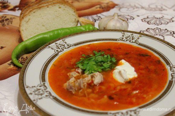 10. Через 15 минут, борщ разливаем по тарелкам, добавляем мелко порезанное мясо, ложку сметаны и зелень по желанию.