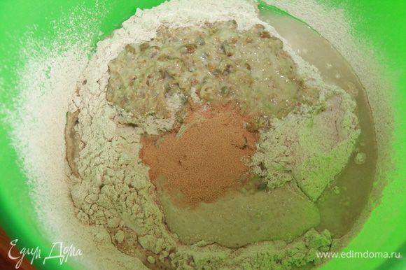 7-ой день. Замесить тесто из муки, мюсли, стартера, дрожжей, 80% воды и сока ферментированных яблок.