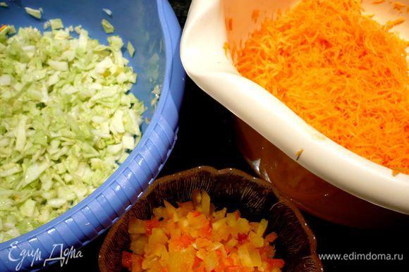 Подготовим овощи для начинки. С паприки снимем кожицу, используя самую мелкую терку. Капусту нашинкуем мелким кубиком, перемешаем с соком лимона, сахаром и парой щепоток соли, хорошо пожмем ее, чтобы она дала сок. Морковь натрем на средней терке. Лук порежем мелким кубиком. Паприку также порежем мелко.