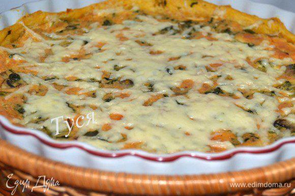 Отправляем в разогретую до 180 гр. духовку мнут на 30-40. За 5 минут до окончания посыпать тертым сыром.