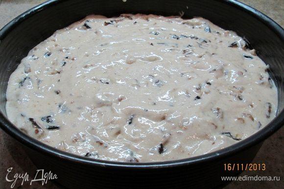Разогреть духовку до 180 гр. Тесто выложить в смазанную маслом разъемную форму (у меня диаметром 26 см). Выпекать 45 мин. Готовность проверяйте деревянной палочкой.