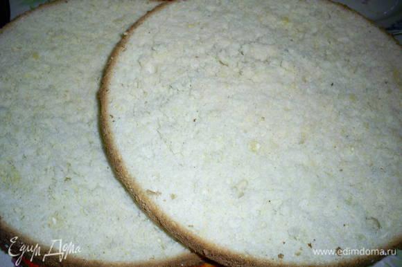 Для начала приготовим бисквит. Для него нам понадобятся яйца, мука и половина (200г) сахара. Как это сделать смотрим тут http://www.edimdoma.ru/retsepty/44825-klassicheskiy-biskvit-gotovim-v-domashnih-usloviyah. Готовый бисквит охлаждаем и разрезаем на два пласта.