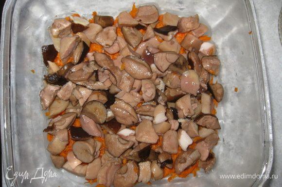 Лесные замороженные грибы (у меня белые и польские) варим 10-20 мин. До заморозки я их отварила 2 раза, в общем 1,5 часа. Сваренные грибы режим, если есть маленькие грибочки откладываем их, потом будем украшать ими корзинку (грибы в корзинке).