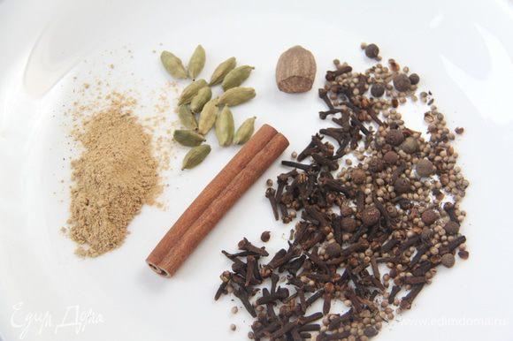 Приготовить пряничные специи. Отмерить и измельчить в кофемолке.
