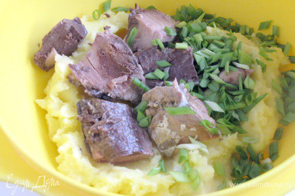 Приготовить картофельное пюре с добавлением молока и сливочного масла. Соединить картофельное пюре с тунцом и зеленым луком. Размять вилкой до однородной массы.