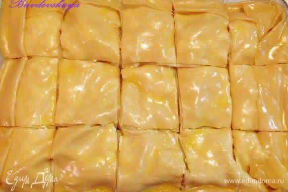 Разрезать Ачму на равные квадраты и сверху полить оставшимся маслом. Поставить в духовку разогретую до 180°С на 30-40 минут до образования золотистой корочки. Вынуть из духовки, дать совсем немного остыть и подавать на стол. ENJOY!