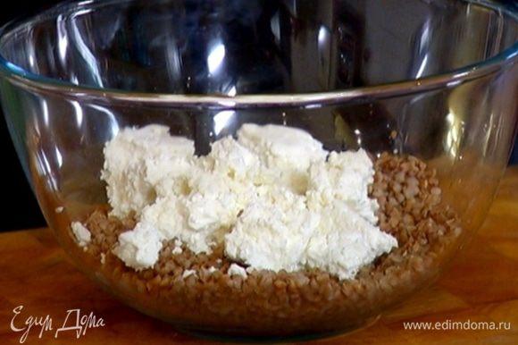 Готовую гречку выложить в глубокую миску, добавить творог, сметану, посолить и все перемешать.