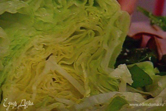 Непосредственно перед подачей нарезать айсберг салат тонкими полосками...