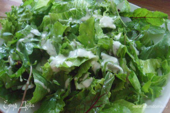 Смешать все ингредиенты для салатной заправки. На блюдо выложить салатный микс (рукола, мангольд, корн и т.д. по вашему желанию) и полить небольшим количеством заправки.