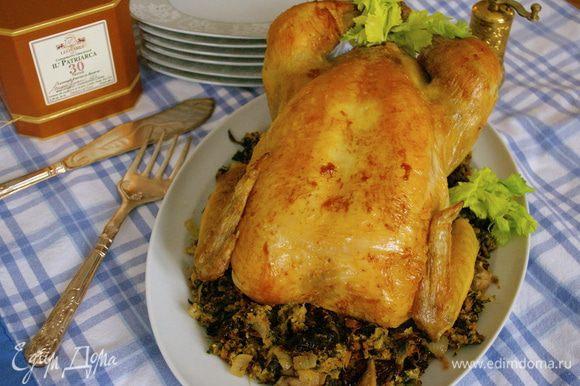 Украсить блюдо с курицей и начинкой зеленью. Очень вкусно подать с салатом из свежих овощей...