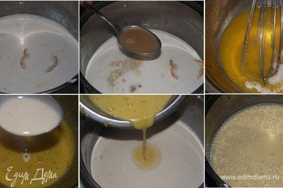 15 г желатина замочить в 100 мл холодной воды, добавив в него щепотку лимонной кислоты. На сито отправить фрукты и дать стечь сиропу в отдельную емкость. 15 г желатина замочить в 100 мл сиропа из фруктов. Если используете кондитерский крем, будьте внимательны — в нем должен присутствовать сахар. Поэтому внимательно прочитайте состав. 200 мл сливок нагреть на плите на слабом огне, добавить 50 г сахара, кремовый ликер и натертую цедру. В отдельной посуде взбить желтки с 30 г сахара в пышную массу. К желткам маленькой струйкой добавляем теплые сливки, а затем массу снова отправляем на очень слабый огонь и прогреваем, но не даем сильно нагреваться кастрюльке, постоянно венчиком помешиваем желтковую массу. Как только масса начнет густеть, снимаем с плиты и охлаждаем.
