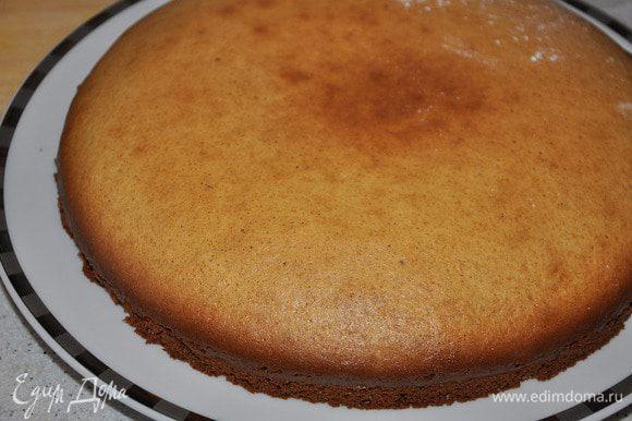 Взбить все ингредиенты бисквита и выпечь корж в разогретой до 180 гр духовке. Печь около 30 минут.