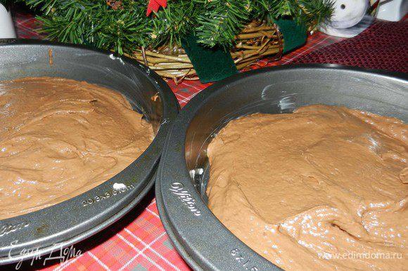 Смешать муку, соду и соль. За 3 раза добавить к шоколадно-кефирной смеси, хорошо размешивая. Разделить на 2 ровные части и разместить в смазанные формы для выпекания, размером 20 см. Выпекать при темп. 175 С около 25 минут, проверять зубочисткой. Вынуть из духовки, дать остыть в форме минут 10.