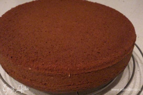 Форму 26 см диаметром смазать маслом, выложить тесто и выпекать при 180 С 45-50 минут до сухой спички. Остудить корж на решетке и выдержать 24 часа.