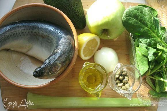 Овощи и фрукты помыть. Селедку разделать на филе: почистить, удалить голову, хвост и кости.