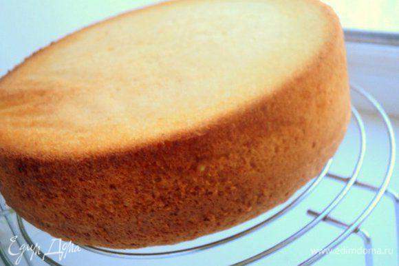 Выпекать при температуре 180 градусов 20-25 мин. Охладить, перевернув бисквит на решетку.