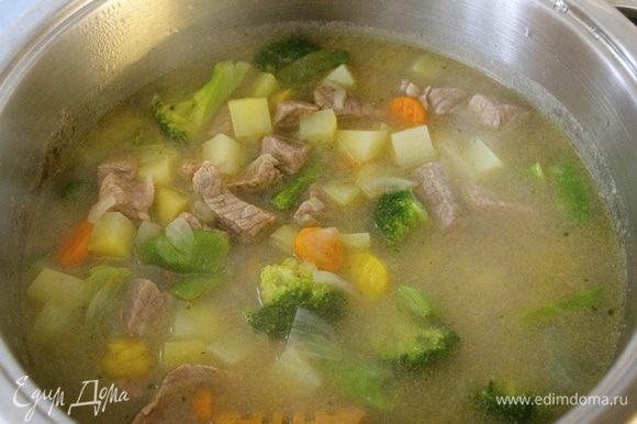 Как только мясо станет мягким, добавить в кастрюлю горячей воды (здесь лучше ориентироваться по Вашим предпочтениям - нравится Вам соус более жидким, или более густым...). Выложить подготовленную овощную смесь и баклажан... Проверить на соль. Проварить все еще минут 20 на небольшом огне. Выключить и дать настояться.