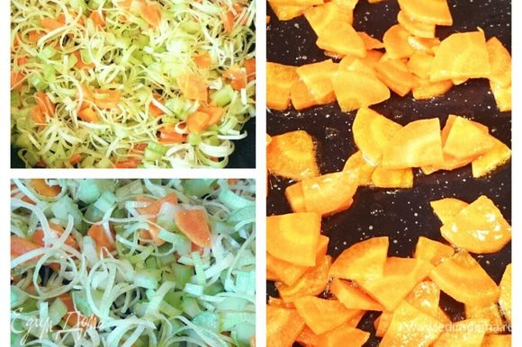Обжарить морковь 2-3 минуты, затем добавить лку-порей и сельдерей. Пассеровать 10 минут. В кастрюлю налить 2 литра воды и довести до кипения, добавить овощи.